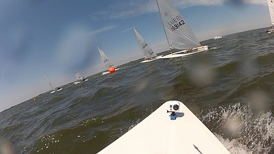 Approaching the layline upwind as the leaders round.