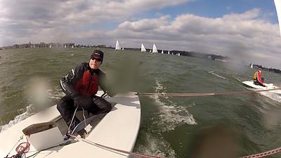 Luke downwind leading the fleet.