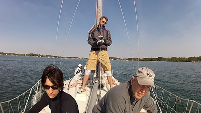 4/14 Opening Day Austin, Eric and John at the foredeck meeting.