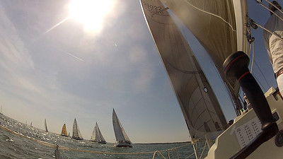 4/14 Opening Day right at the start, most of the fleet to leeward.