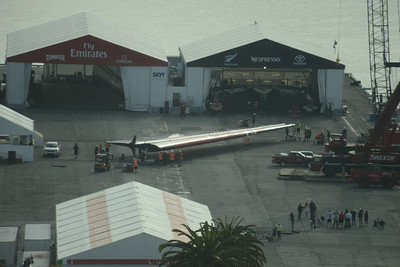 Emirates Team New Zealand launch before Race 5 of the 34th America's Cup in San Francisco, California September 10, 2013.