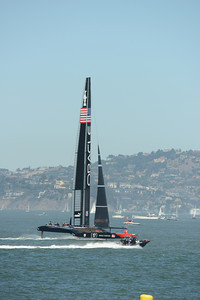 Emirates Team New Zealand and Oracle Team USA before Race 1 of the 34th America's Cup in San Francisco, California September 7, 2013.