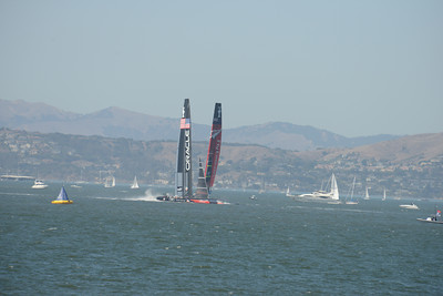 Emirates Team New Zealand and Oracle Team USA during Race 2 of the 34th America's Cup in San Francisco, California September 7, 2013.