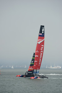 Emirates Team New Zealand and Oracle Team USA before Race 3 of the 34th America's Cup in San Francisco, California September 8, 2013.