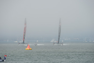 Emirates Team New Zealand and Oracle Team USA during Race 3 of the 34th America's Cup in San Francisco, California September 8, 2013.