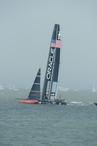 Emirates Team New Zealand and Oracle Team USA during Race 4 of the 34th America's Cup in San Francisco, California September 8, 2013.