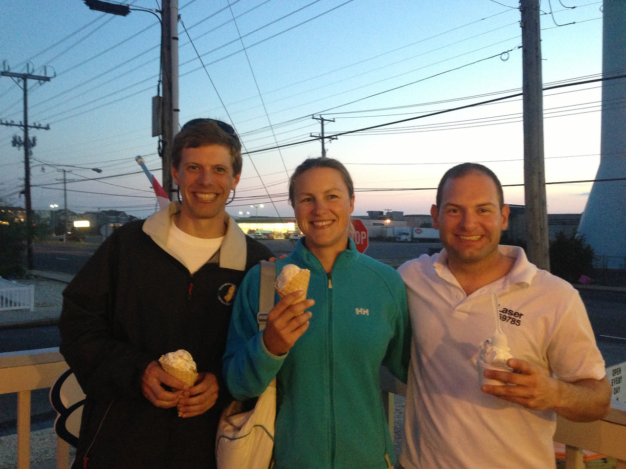 Eric, Christine, Jon stopping for ice cream after regatta dinner.