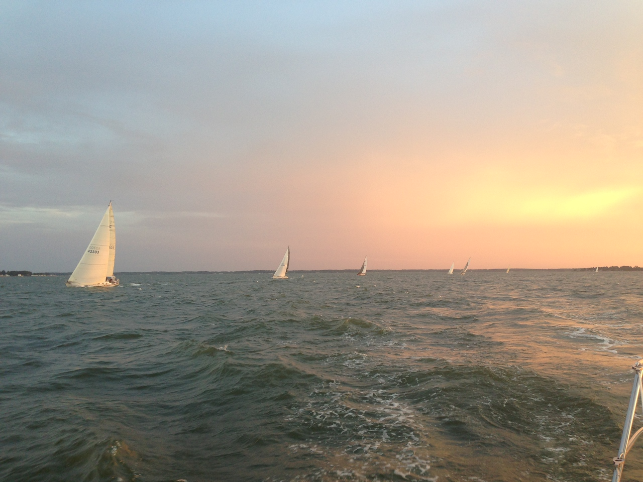 6/22 FBYC Moonlight Race - B/C fleets behind us on the layline to the first mark.