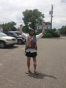 6/22 Hampton Team Race Scrimmage - the camouflage loaner life jacket fit Eric perfectly both literally and figuratively.