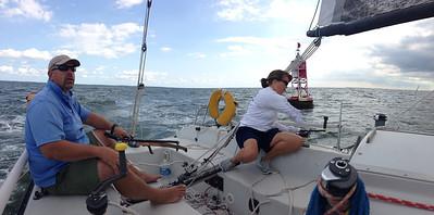 8/24/2013 Smith Point Race - Bob & Lisa Fleck on Mad Hatter.