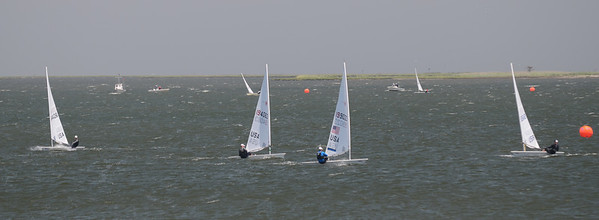 6/2 Clay Johnson leading the fleet at the windward mark of race 11.