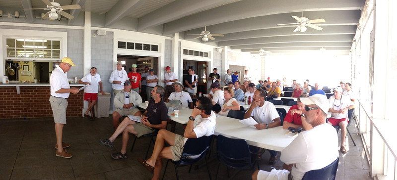 Rick Klein conducting the skipper's meeting