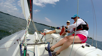 Getting my shoe re-tied while sailing