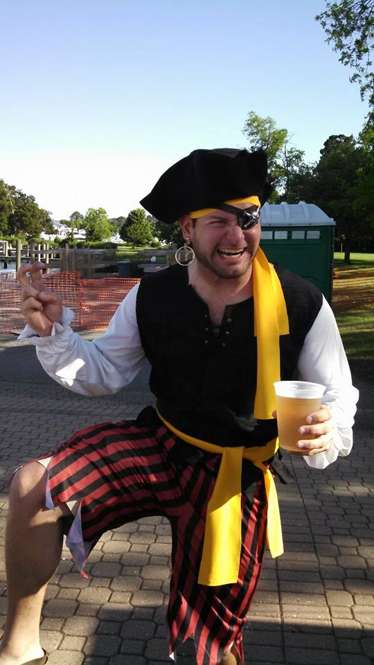 5/31 Jon dressed as a Pirate for the Blackbeard festival