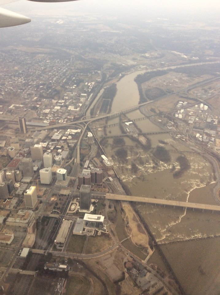 2/9 flying into Richmond directly over the city.
