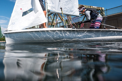 TORONTO, Ontario, August 24th 2018.  Sailors rig and register for Youth Olympic Training Seminar (YOTS) at the Royal Canadian Yacht Club (RCYC). (Photo Credit Christian Bonin / TSGphot.com)
