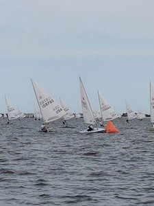 Day 2 at the US Laser Masters - Race 4 - last mark rounding to the finish - in 3rd place.