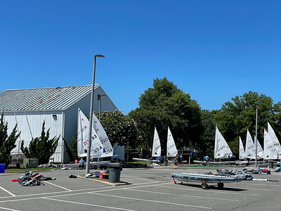 ODU Sailing Center as boats begin to arrive and those already there go out to practice.