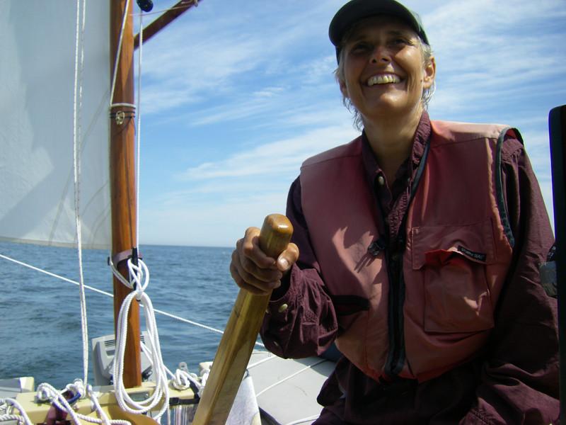 Shemaya sailing off of Tenants Harbor, Maine.  August, 2012.  Photo: Suzanne Jean