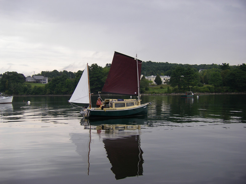 Why was it that I left the dock with the water this flat??  It took two hours to sail the half-mile out of Belfast harbor – but it sure did make for some great photographs!  August, 2012.  Photo: Suzanne Jean
