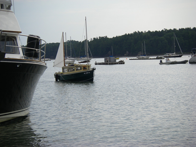 Harraseeket River (really a narrow bay) just outside that previous marina.  July, 2012.  Photo: Suzanne Jean