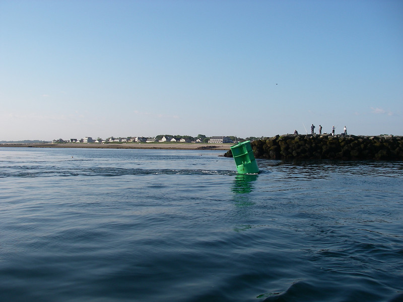 Leaving the canal, looking south.  Note the current on the buoy.  July, 2012.