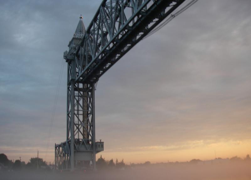 Same bridge, thicker fog… but home free, as far as getting through the bridge while open!  July, 2012.