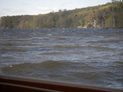 The north wind shoots straight down the river, which makes for a bit of a ride for a small boat on a dock!