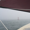 The bell outside Tenants Harbor – that was one thick fog!  GPS is good, and so is the giant echomax radar reflector – but neither one stops fast-moving traffic from coming way too close for comfort!