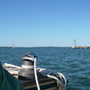 Coming out of Stonington Harbor, inner breakwater on the right, Fishers Island in the distance.  May, 2012.