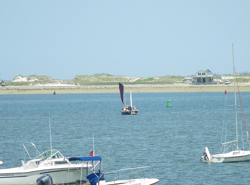 Plymouth Harbor. See the nun way on the right?  I turned too soon before that, in the dark in late September – pure sandbar in that water straight ahead!  July, 2012.  Photo: Suzanne Jean