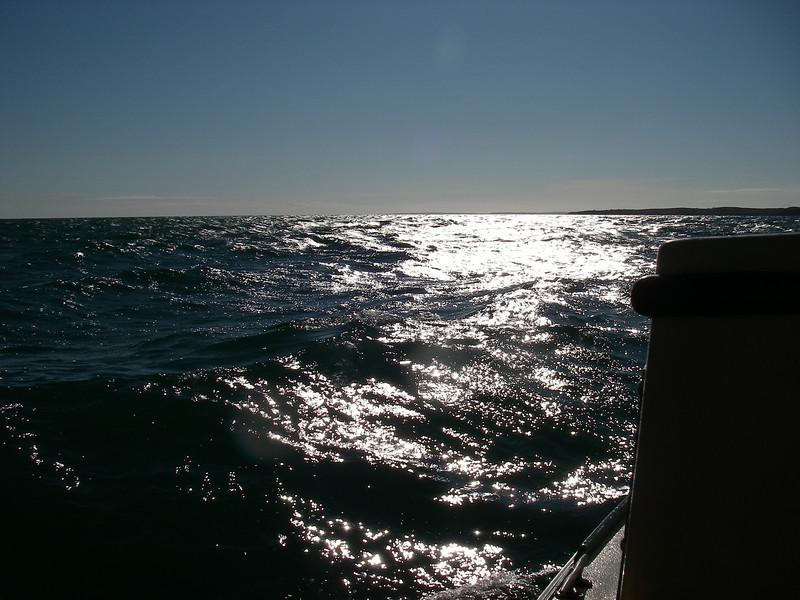Cuttyhunk getting closer – note the famous Buzzards Bay chop… June, 2012.  Photo: Shemaya Laurel