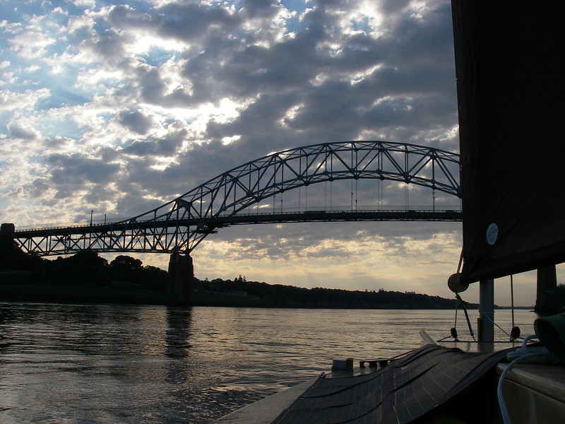 The Sagamore Bridge – by now the fog had cleared, and what a beautiful morning!  July, 2012.
