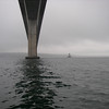Passing underneath the Jamestown Bridge, Narragansett Bay, Rhode Island.  June, 2012.  Photo: Shemaya Laurel