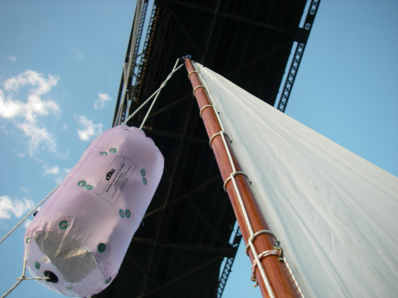 """This is the inflatable radar reflector, called an echomax.  I had wondered just how well it did, and earlier during the morning was passed by a sailboat with a radar going.  Without my asking they called out about how big a signal they got from me – great news!  A fishing boat in the dark said the same thing quite a few months later.  Something about """"I thought I was heading toward a barn.""""  Nice to know that we show up!  July, 2012."""