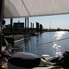 At the dock, sail up for shade.  Judy's Creek, Madison, CT, May, 2012. Photo: Shemaya Laurel