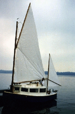 Bob Cushing's glasshouse Chebacco sailboat