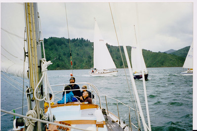 Racing in the Sounds, with reefed main (roller boom reefing) after rain squall.