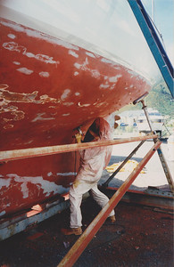 Fairing the hull.  Note excellent condition of Kauri planks. Al is shown in full kit as he is a professional painter.  Note he has placed small pieces of masking tape to indicate unsound areas of antifoul still to be sanded.