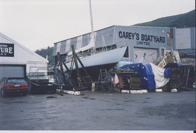 Hauled out at Carey's Boatyard, Waikawa.  This yard under it owner, Mr. Carey, did excellent work for us.