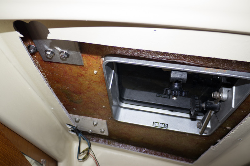 Hardware access inside the aft cabin when the trim cover is removed.