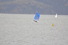 Pole on the forestay - its a tight reach but holding it well. Hamlin and Cayard charge to Angel Island way out in front.