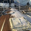 Ice on the teak deck.