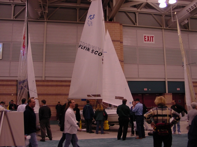 The Flying Scot Sailboat booth at the Sail Expo in Atlantic City New Jersey.  Visit us each year at the Sail America Expo shows.  please email us for a complete list of shows that we will be at this year.  The Flying Scot is rigged with our standard race package at this show.