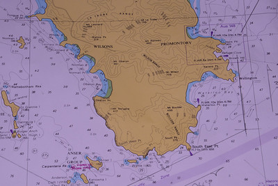 Map of the Prom.  See pencil line for our course.  I got us down to Cleft Island (Skull rock) mid left bottom of chart; thereafter we turned to lay South East Point, then to Cape Wellington.