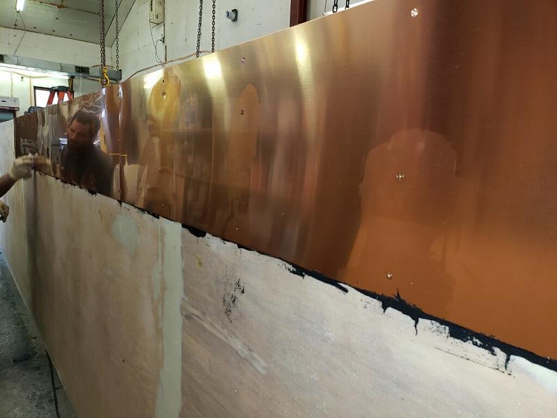 copper below waterline, bedded in 3M 5200 <br /> April 15, 2019<br /> Photo: Jon Mickel