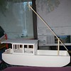 Mast partially lowered/raised on tabernacle.<br /> Thanks to Chipper Daley for all his help with building the model!