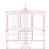 Cross-section. Cabin doors are sliding, and are slightly offset to allow for 30 inch opening.<br /> Drawing by Christopher Lariviere