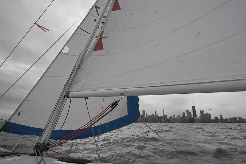 Chicago Skyline framed by J30 sails.