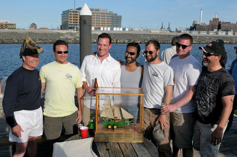 "Commodore Ondra with crew of ""Wind Dancer,"" winner of the 2013 ""Arr Arr Regatta"""